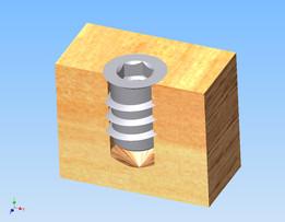 Nut M6x15 into wood
