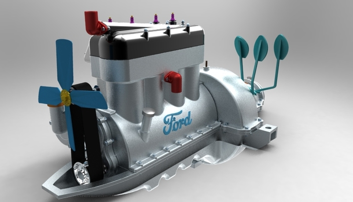 Keyshot rendering FORD ENGINE