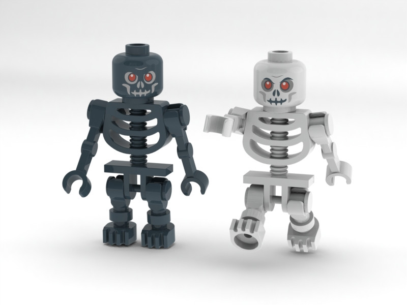 Lego Castle Skeleton Warior Minifigure Black And White 3d Cad