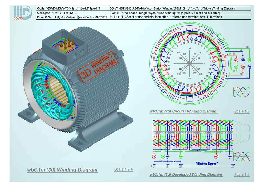 3d winding diagram tsm1 1 1 1 3d cad model library grabcad rh grabcad com motorcycle stator winding diagram stator winding diagram handbook
