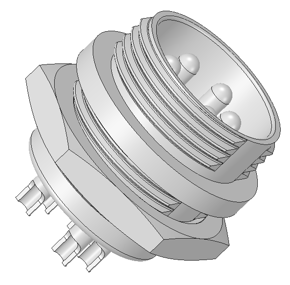 GX-16 Connector 5 Pins   3D CAD Model Library   GrabCAD