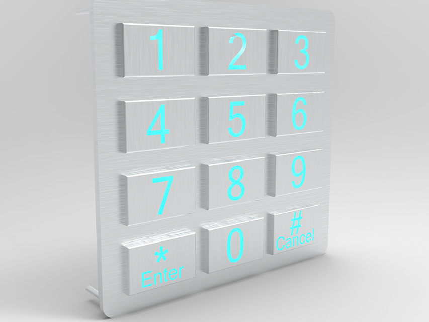 LED backlighted 3x4 stainless steel keypad | 3D CAD Model Library