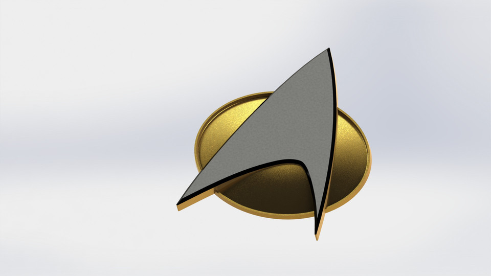 Star Trek Tng Comm Badge 3d Cad Model Library Grabcad