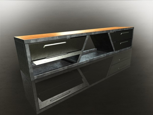 meuble tv acier step iges 3d cad model grabcad. Black Bedroom Furniture Sets. Home Design Ideas