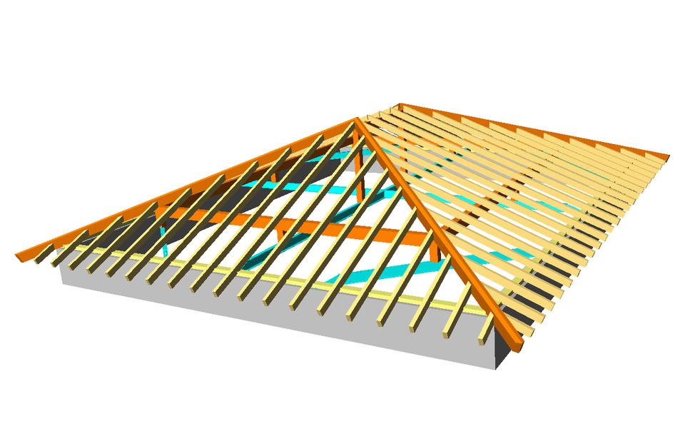 tejado a cuatro aguas autocad 3d cad model grabcad