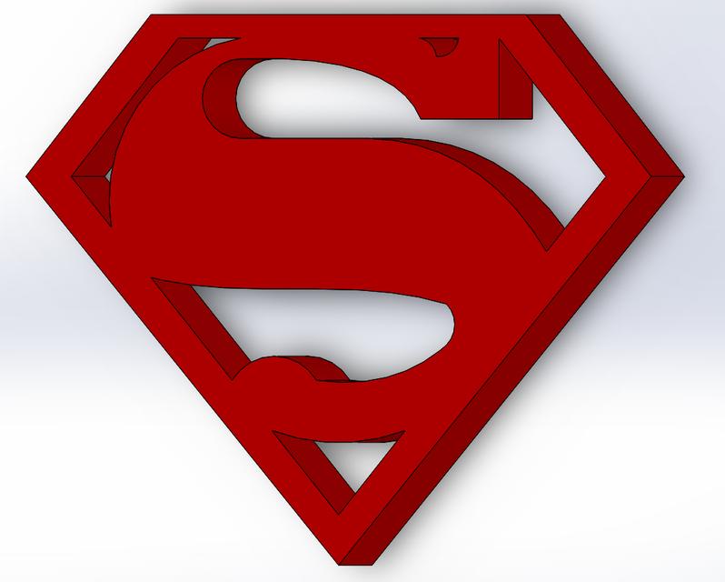 Superman Logo 3d Cad Model Library Grabcad