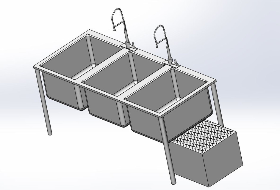 3 Compartment Kitchen Sink with Grease Trap | 3D CAD Model Library ...