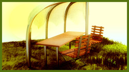 Sunshade and folding chairs