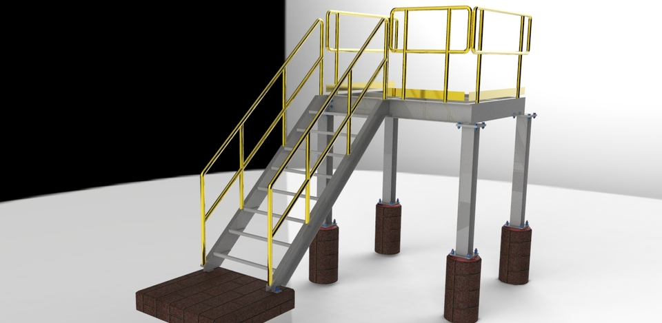 Structural Platform W/Stairs   South   3D CAD Model Library ...