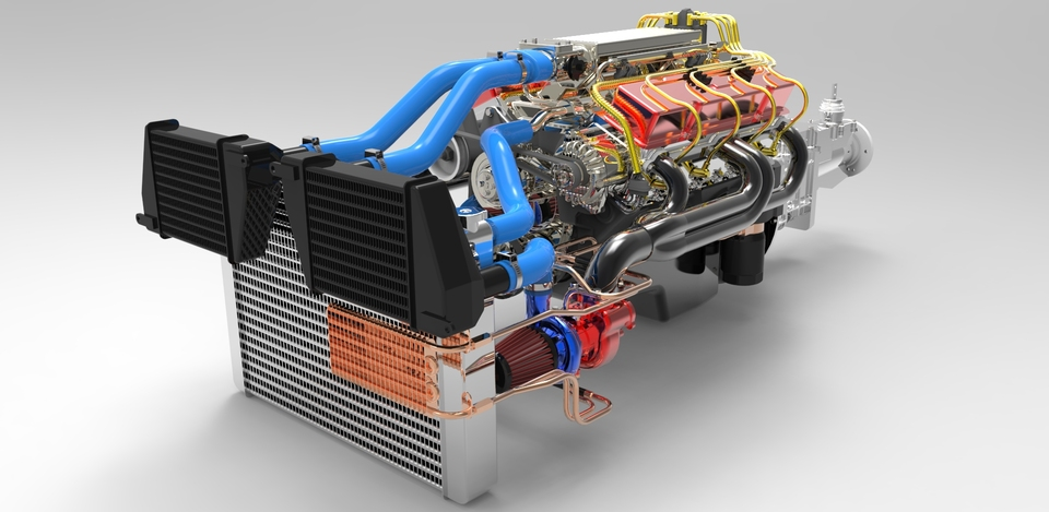 350 CHEVROLET V8 TWIN TURBO | 3D CAD Model Library
