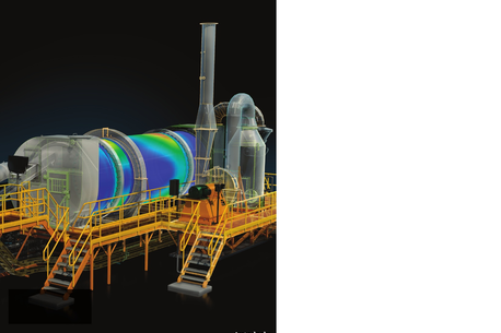 A drawing of a Rotary Kiln / Furnance