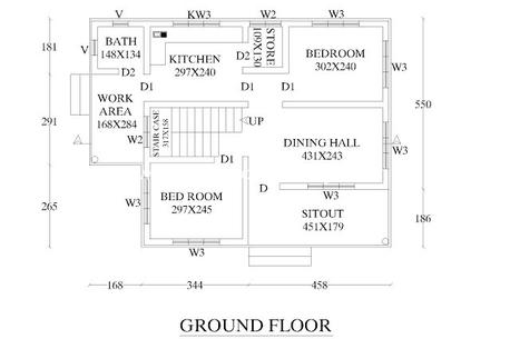 Grabcad for Plan of 2bhk house