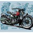 Looking for detailed motorbike technical drawings.